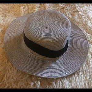 NWOT-ASOS Metallic Silver Straw Hat
